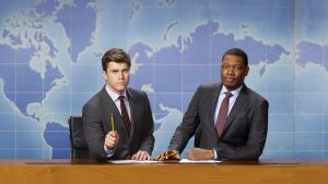 """Photo from: """"Saturday Night Live: Weekend Update,"""" featuring anchors Colin Jost and Michael Che. Mark Ellen Matthews / NBC"""